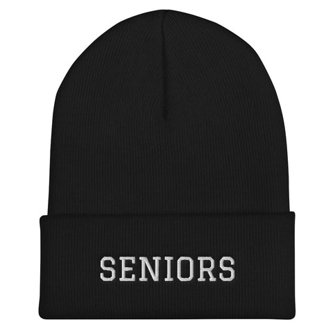 """SENIORS"" Cuffed Beanie - High School Graduation - Graduation Cap and Gown"