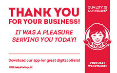 MC2-004 - Thank You for Your Business Card - talktowendys.com
