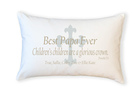PillowGrace Best Grandfather Ever Pillow Proverbs 17:6