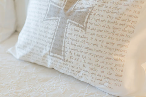 PillowGrace Scripture for Fathers Pillowcase with Cross