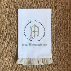 OUTLET - Isaiah 9:6 Sample - HJ / JH - Hand towel with Trim