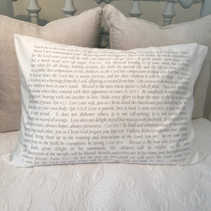 OUTLET - Scripture for Fathers Sample (personalization optional)- Cotton Standard Pillowcase