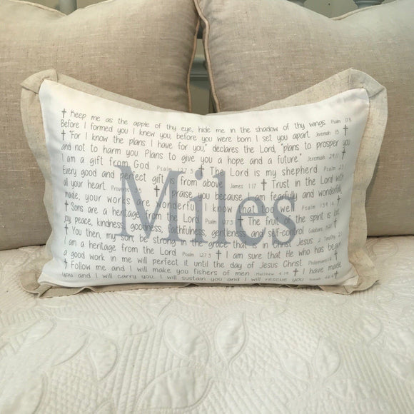 OUTLET - Scripture for Baby Boys Sample - Miles - Cotton Boudoir with Linen Flange