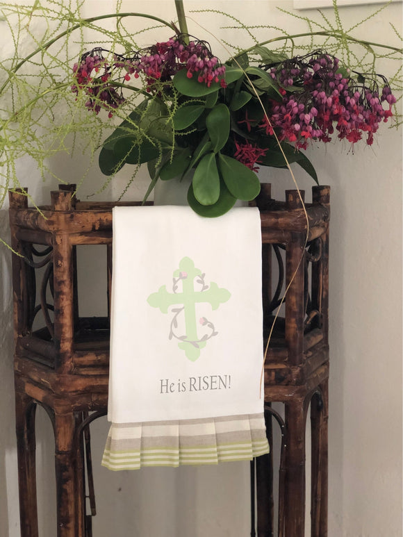 He is Risen - Easter Hand Towel with Striped Frill