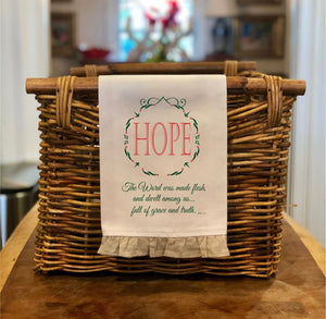 John 1:14 Hope - Christmas Hand Towel with Frill
