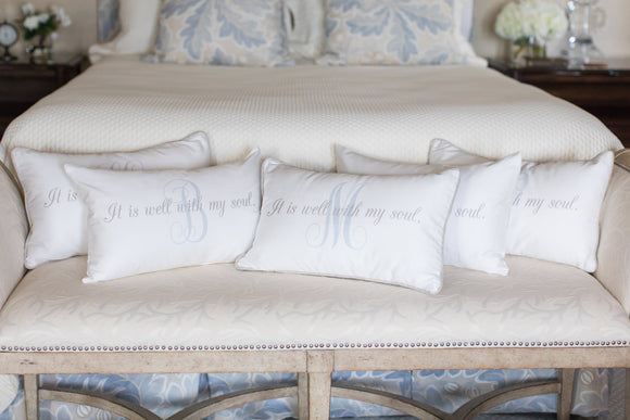 SALE - It Is Well with Single Initial - Boudoir Pillow