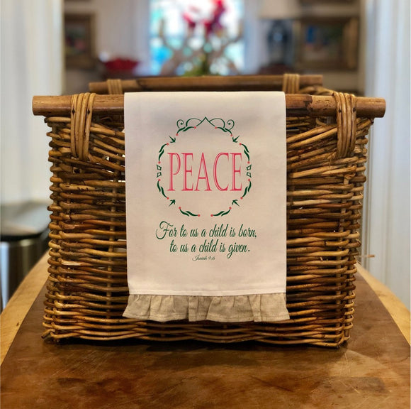 Isaiah 9:6 Peace - Christmas Hand Towel with Frill