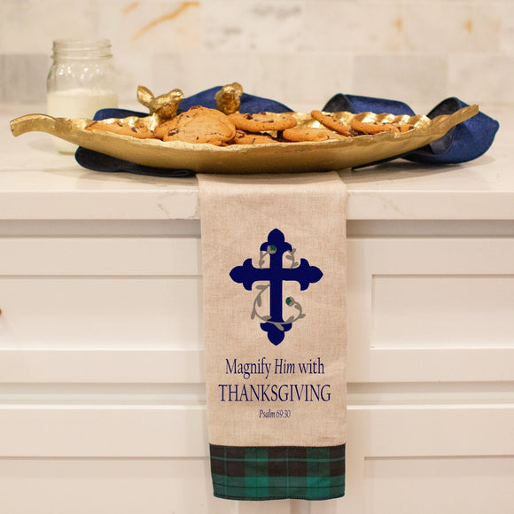 Psalm 69:30 with Cross - Thanksgiving Hand Towel with Black Watch Trim