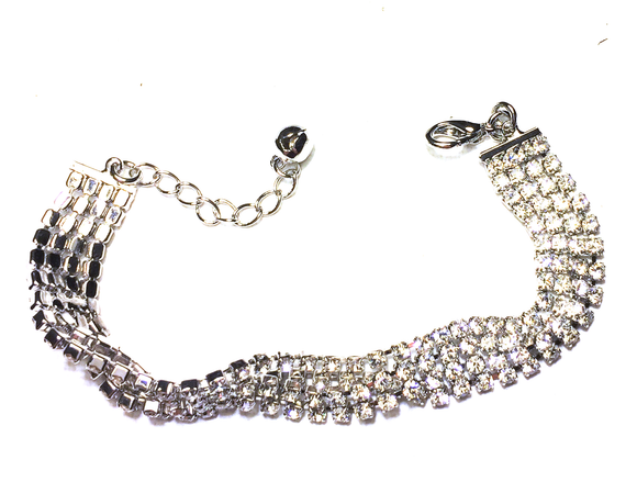 Silver diamonte bracelet with four strands
