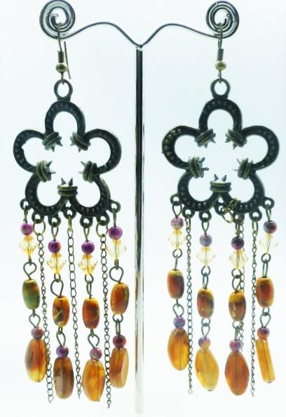 Flower shaped earrings with dangling autumn coloured beads