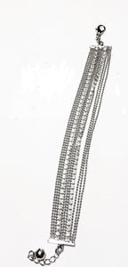 Silver multistranded bracelet with diamontes