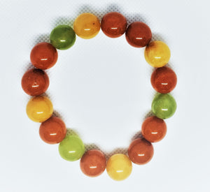 Glass Autumn colour beaded bracelet
