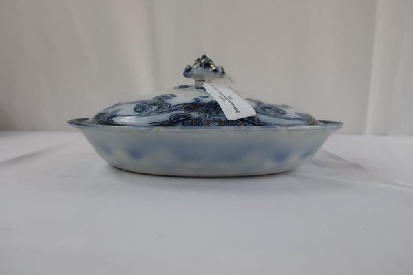 Vintage Royal Staffordshire Burslem Iris Blue Gilded Dish with Lid