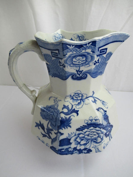Mason's Patent Ironstone China Flow Blue Large Antique Vase