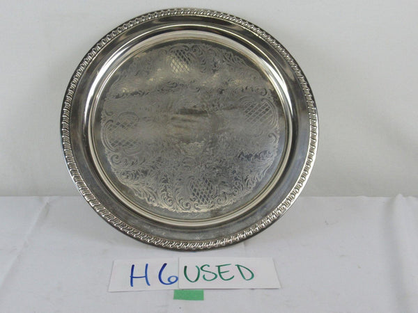 "Antique Vintage Leonard EP Silver Plate Decorative Platter 15.5"" - Italy"