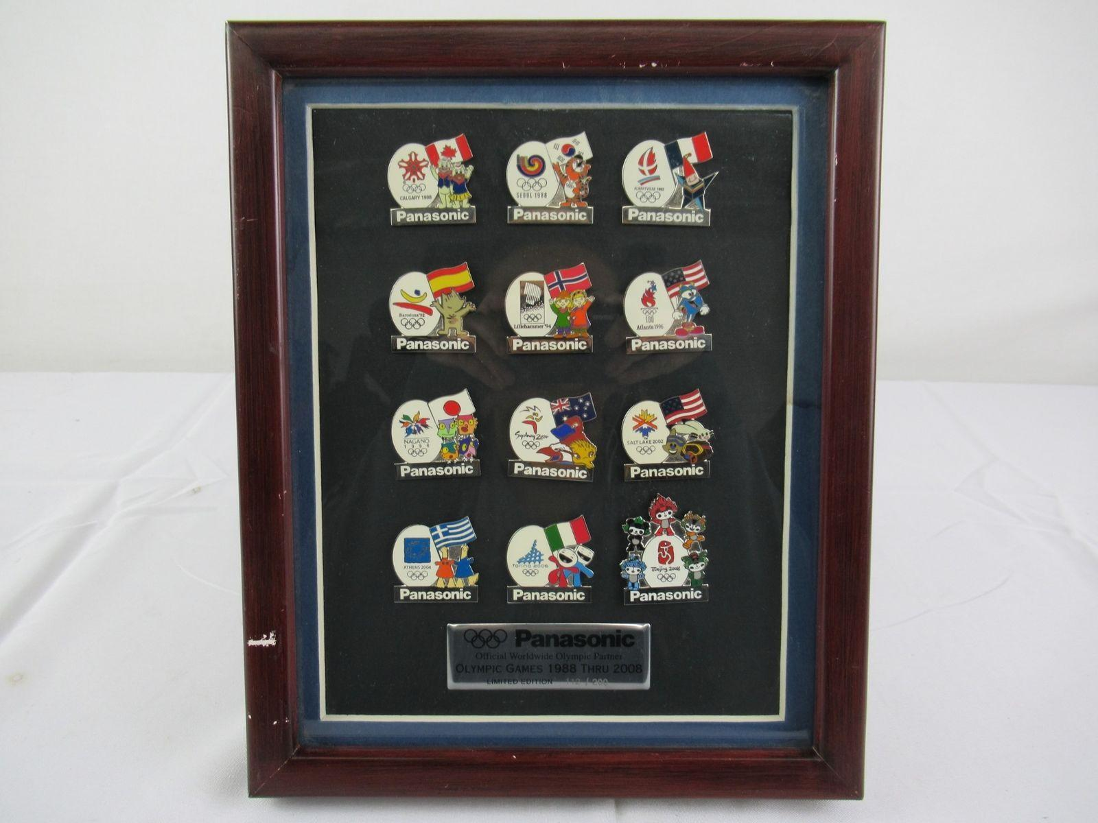 Panasonic Olympic Games 1988 Thru 2008 Ltd Edition 112/200 Collector Pins Framed