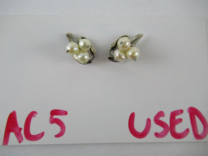 Vintage Modernist JoPol Sterling Clip Earrings Fruits with Leaf Design 0830