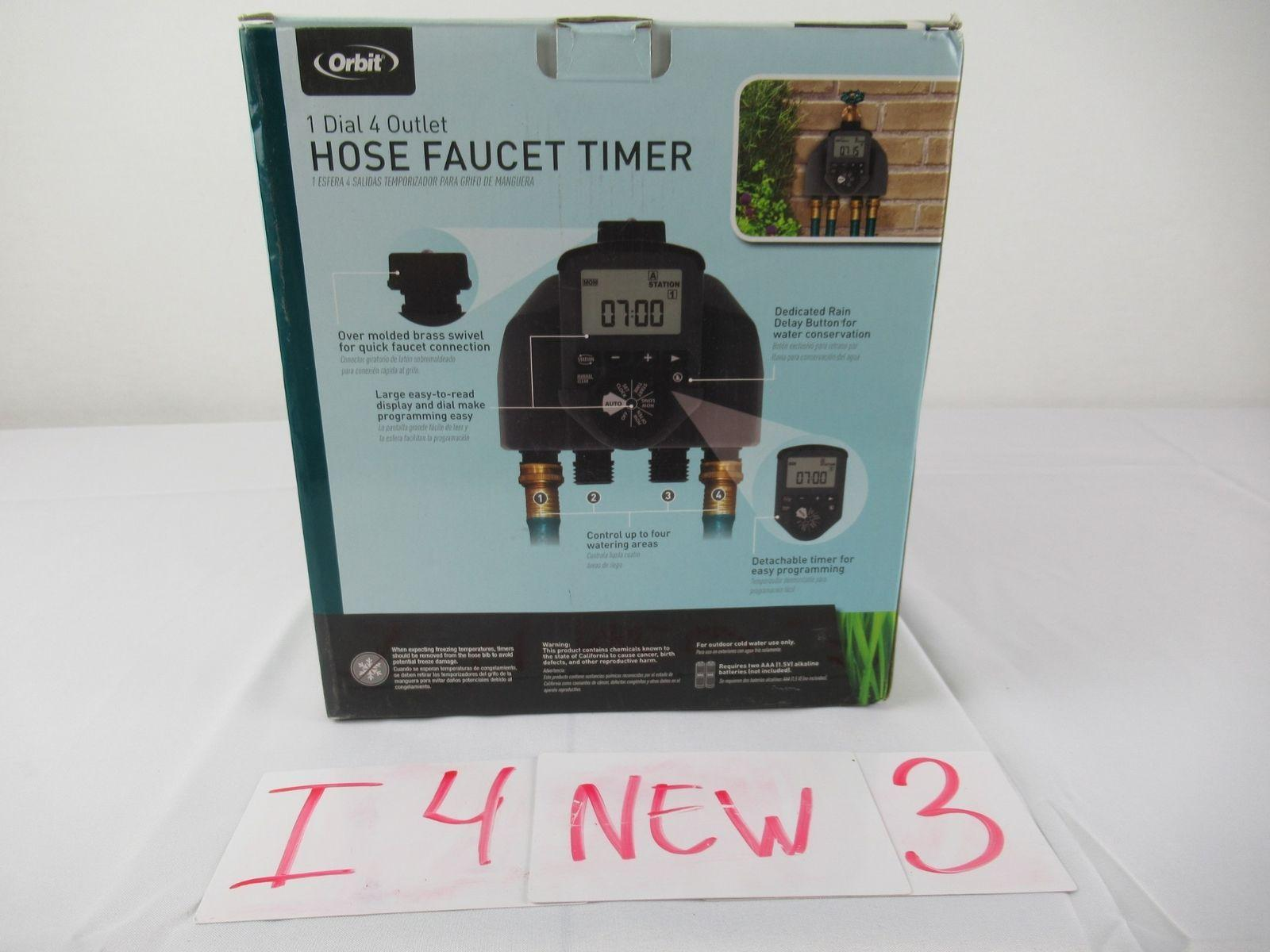Lot of 3 Orbit 1-Dial 4 Outlet Hose Faucet Timer Conserve with Original Box