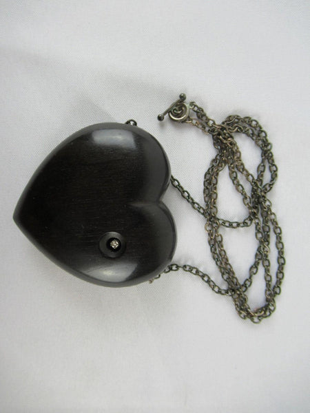 Georg Jensen 925 S Necklace with Black Heart Woodstone Pendant with Diamond Rare