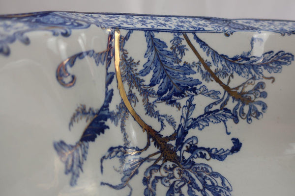 "Doulton ""Warwick"" England Gilded Pitcher And Wash Basin Footbath Bowl Blue"