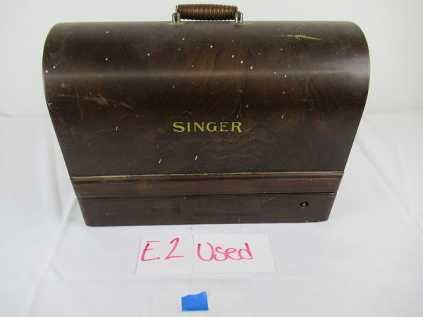 Vintage Singer Sewing Machine with Bent Wood Case Portable