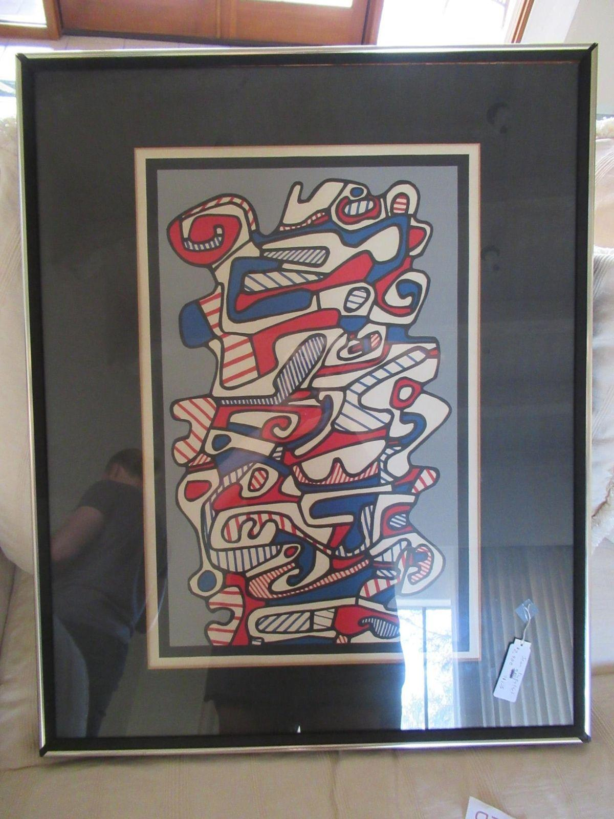 Jean DuBuffet Abstract Mid Century Painting 31 x 25 Lithograph With Frame Decor