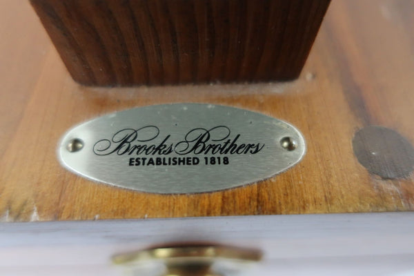 Vintage Brooks Brothers Wooden Shoe Shine Polishing Box with Shoe Shiner, Cloth