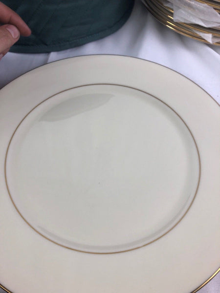 "SET OF 13 LENOX HAYWORTH COSMOPOLITAN 10.7"" DINNER PLATES, IVORY & GOLD, H10"
