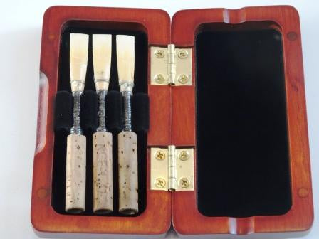 Wooden Oboe Reed Case (3 x Reeds)