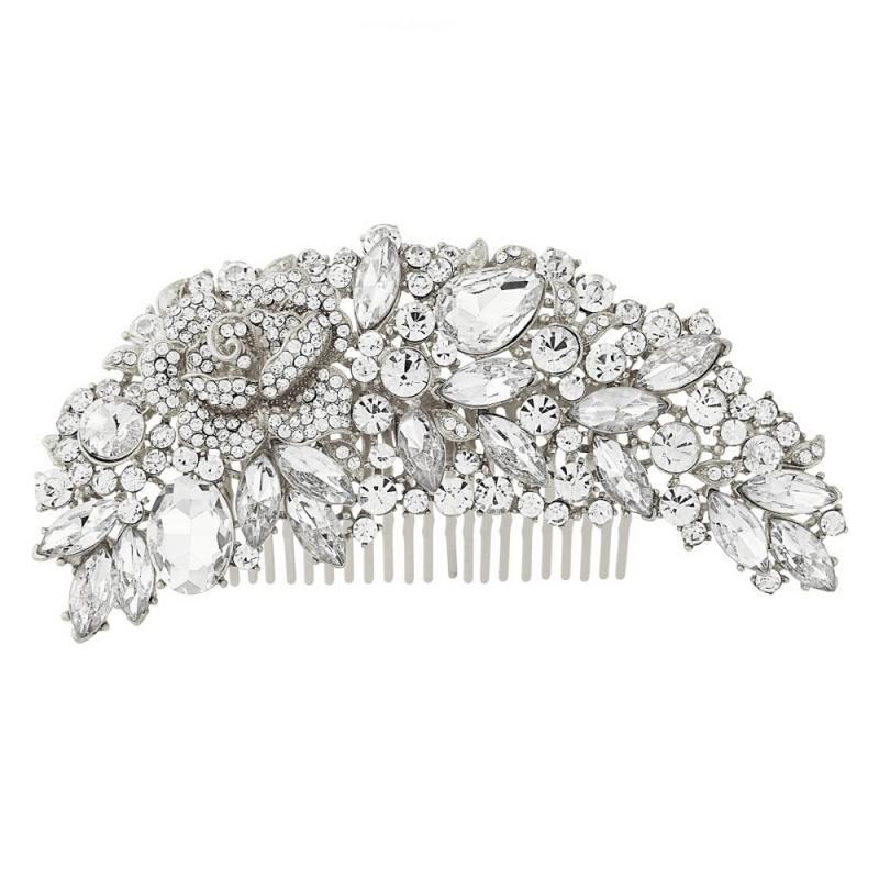 Exquisite Bridal Hair Comb In Silver