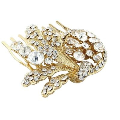 Vintage Deluxe Crystal Bridal Hair Comb - Gold