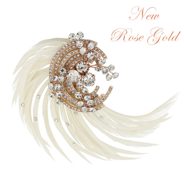 Adoria Feather Rose Gold Wedding Hair Clip