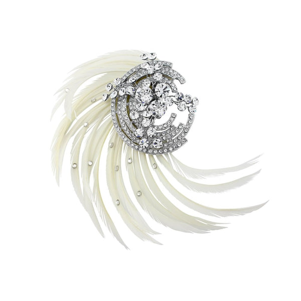 Adoria Feather Silver Wedding Hair Clip