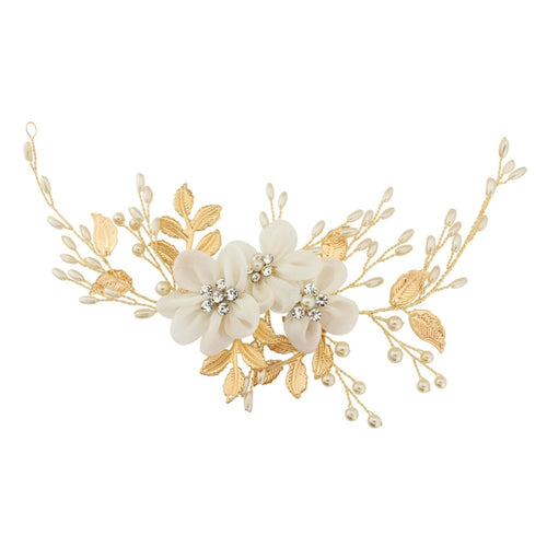 Aimee Floral Enchantment Gold Headpiece With Ivory Flowers, Ivory Pearls & Clear Crystals On A Gold Hair Vine