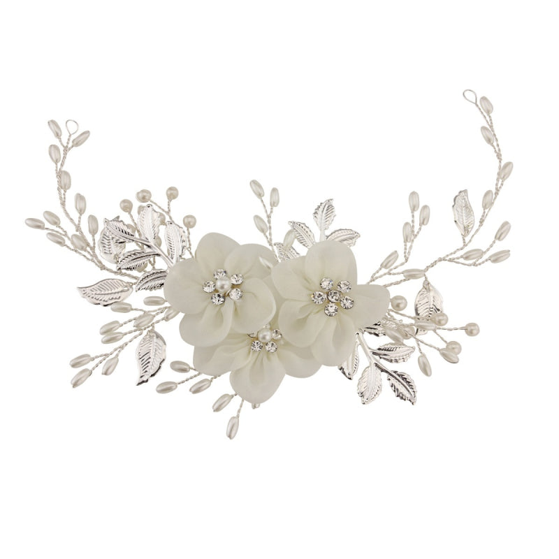 Aimee Floral Enchantment Silver Headpiece With Ivory Pearls, Ivory Flowers & Clear Crystals