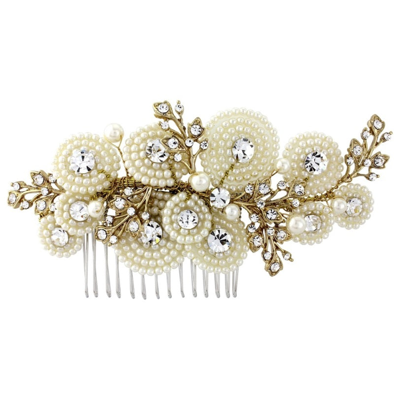 Amelia Pearl Gold Wedding Hair Comb