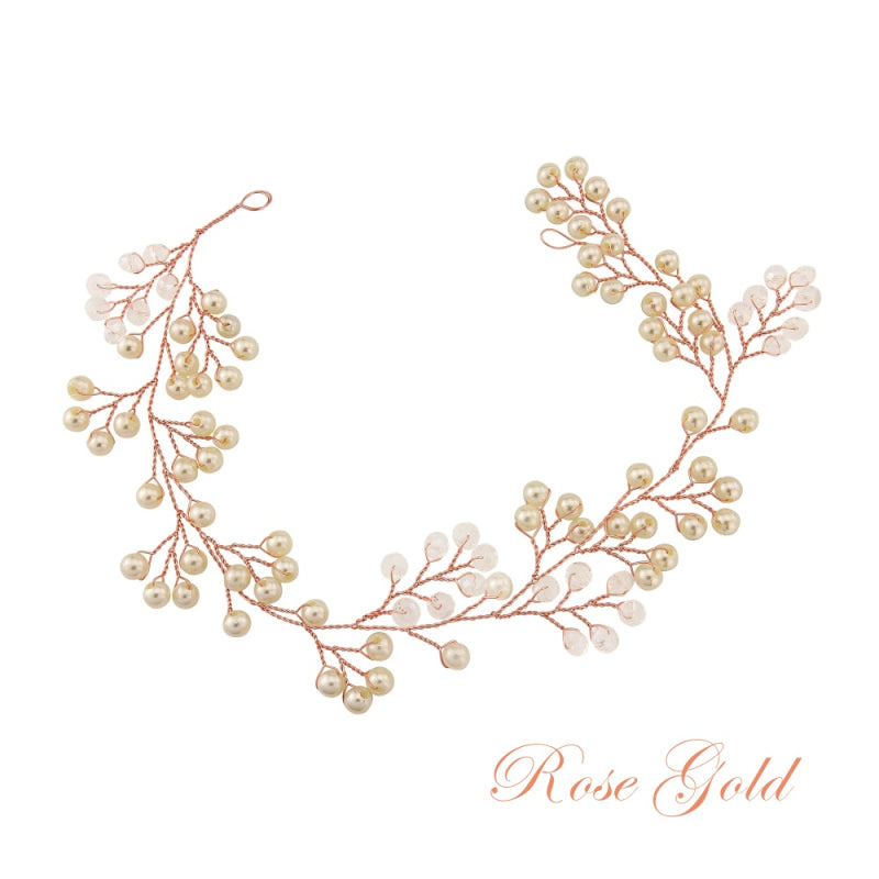 Amelie Rose Gold Mini Pearl Bridal Hair Vine Embellished With Simulated Ivory Pearls