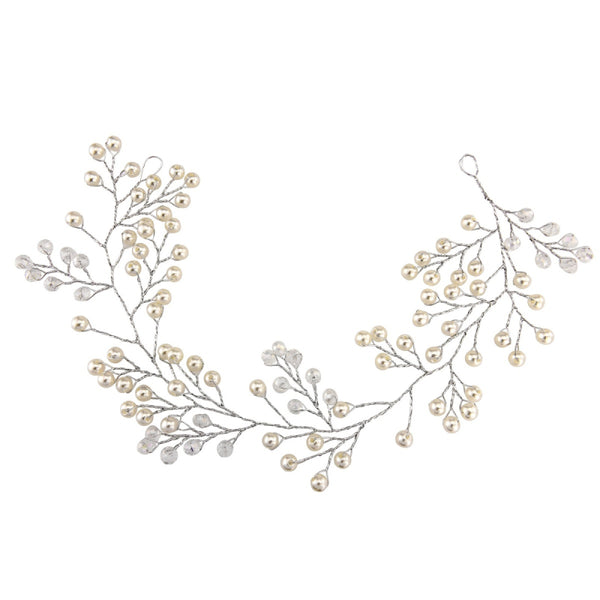 Amelie Silver Mini Pearl Bridal Hair Vine Featuring Simulated Ivory Pearls On Silver Wire