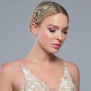 Ava Antique Gold Side Headband