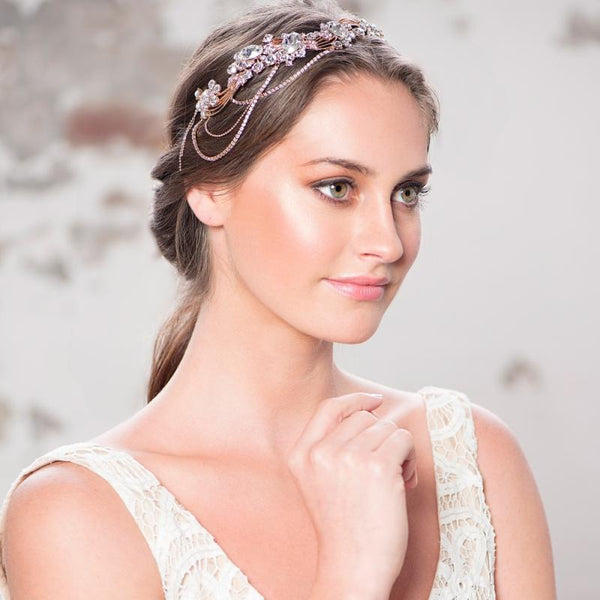 Bejewelled Gatsy Style Headband In Rose Gold