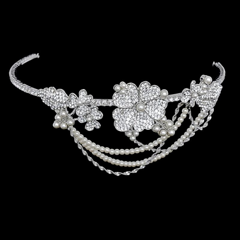 Bejewelled Statement Piece Bridal Brow Band In Silver