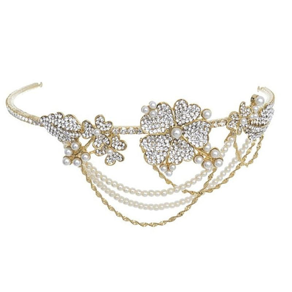 Bejewelled Statement Piece Bridal Brow Band In Gold
