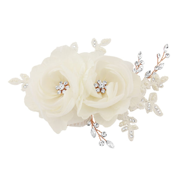 Blossom Floral Rose Gold Hair Clip With Fabric Ivory Flowers, Simulated Ivory Pearls & Clear Crystals