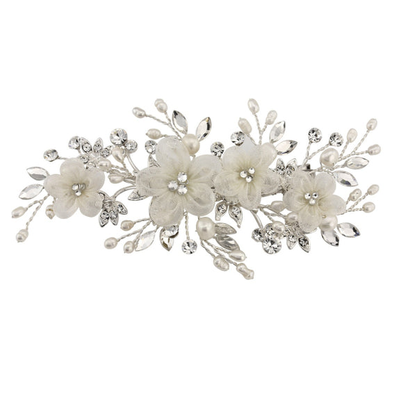 Carrie Floral Silver Wedding Headpiece