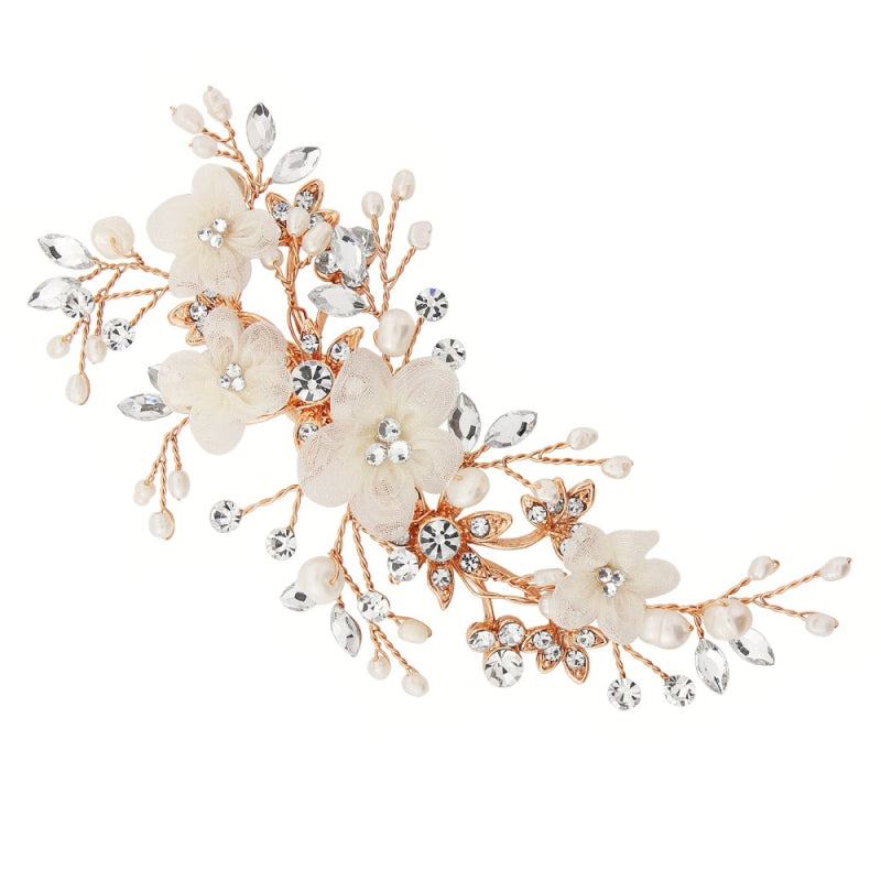 Carrie Floral Rose Gold Wedding Headpiece