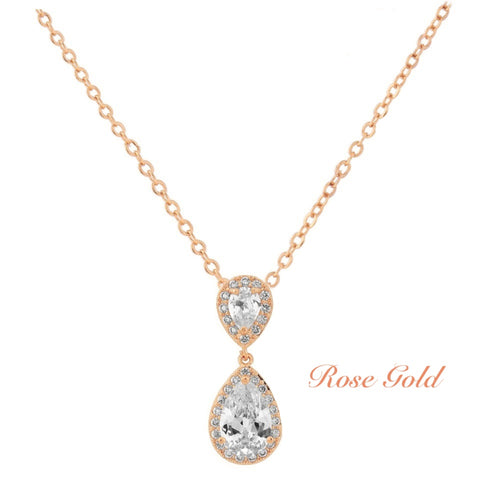 Chic Crystal Rose Gold Wedding Necklace