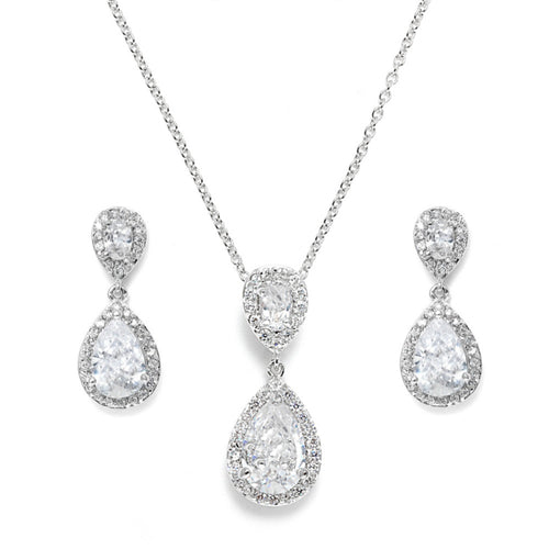 Chic Crystal Silver Wedding Necklace & Earrings Set