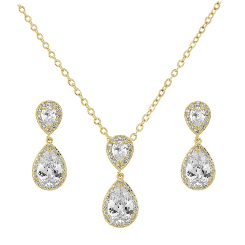 Chic Crystal Gold Wedding Necklace & Earrings Set
