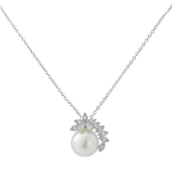 Chic Pearl Silver Wedding Necklace