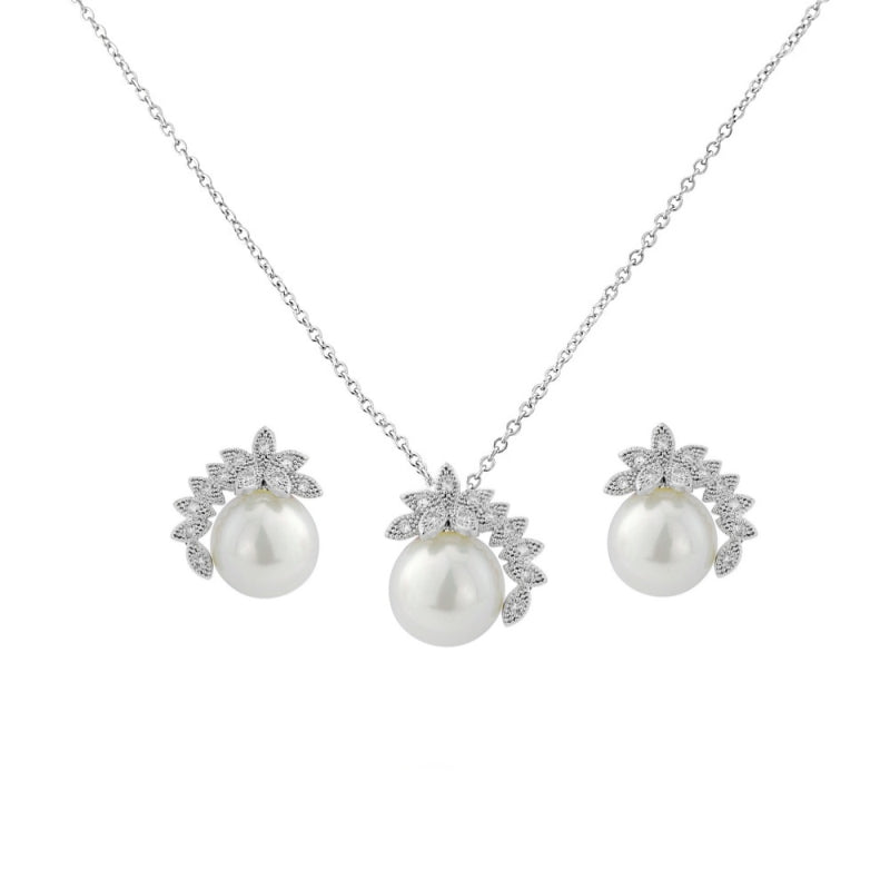 Chic Pearl Silver Wedding Necklace & Earrings Set